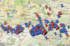 Auf einen Blick sind die geplanten Kraftwerke in naturschutzfachlich wertvollen Gebieten als rote Punkte auf der Karte erkennbar.