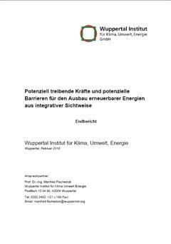 Treibende Kräfte und potenzielle Barrieren für den Ausbau erneuerbarer Energien aus integrativer Sichtweise
