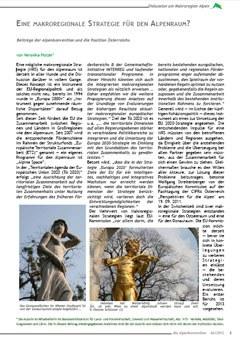 Eine makroregionale Strategie für den Alpenraum?