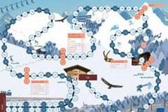 """Le kit pédagogique """" Wild im Schnee """" se compose de 19 modules utilisables de diverses manières et de deux grands jeux."""