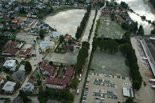 La basse vallée de l?inn en Autriche a été inondée de multiples fois © Land Tirol