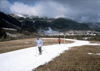 Kunstschnee-Langlaufloipe in St. Moritz