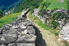 Pri švicarskem kraju Intschi se Via Gottardo vije cez pašnike po dobro ohranjeni stezi.
